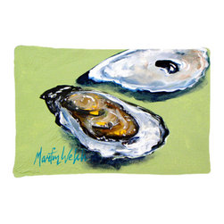 Caroline's Treasures - Oysters Two Shells Fabric Standard Pillowcase Moisture Wicking Material - Standard White on back with artwork on the front of the pillowcase, 20.5 in w x 30 in. Nice jersy knit Moisture wicking material that wicks the moisture away from the head like a sports fabric (similar to Nike or Under Armour), breathable performance fabric makes for a nice sleeping experience and shows quality. Wash cold and dry medium. Fabric even gets softer as you wash it. No ironing required.