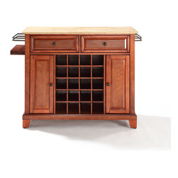 Crosley - NEWPORT NATURAL WOOD TOP WINE ISLAND - Dimensions:  18 x 48 x 32.5 inches