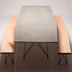 Concrete Dining Table with Wooden Benches -