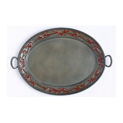 "Old Dutch International - ""Art Nouveau"" Oval Tray - The delicate swirls and symmetry of Art Nouveau, reproduced for this charming tray. It's hand crafted of iron and aluminum to add a sophisticated touch however you use it — to serve drinks at a party, hold flacons on your dressing table or simply sit out on display."