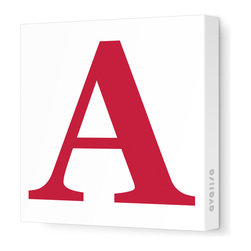 """Avalisa - Letter - Upper Case 'A' Stretched Wall Art, Dark Red, 18"""" x 18"""" - Spell it out loud. These uppercase letters on stretched canvas would look wonderful in a nursery touting your little one's name, but don't stop there; they could work most anywhere in the home you'd like to add some playful text to the walls. Mix and match colors for a truly fun feel or stick to one color for a more uniform look."""