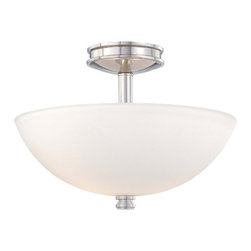 Minka-Lavery - Brookview Polished Nickel Two-Light Semi Flush with Etched White Glass - - Two-Light Semi Flush  - Glass Color: Etched White Glass  - Backplate Dimensions: 5.5-Inch W x 1.63-Inch H  - Bulbs are not included  Minka-Lavery - 1502-613