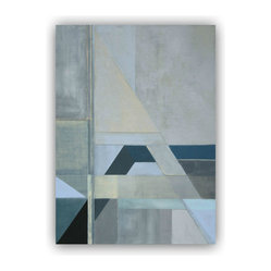"""Outside Up"" by Victoria Kloch - This incredibly refined acrylic abstract painting by Victoria Kloch will add depth and a feeling of spaciousness to any wall you hang it on. This modern work, in beautiful neutral colors and geometric shapes, is utterly peaceful and stylish."