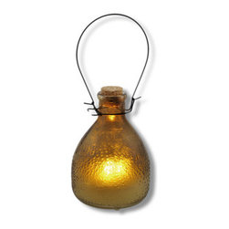 Glass LED Flickering Candle Lantern Yellow - Add some country charm with this unique lantern. The flickering candle looks like it`s melting right inside the jar! It has a raised pattern on the outside of the glass designed to appear warm to the touch. Hang it from a hook in your garden, or set several on a table for a fanciful candlelit dinner. The options are endless. Uses one CR2032 lithium cell 3 volt battery (included) for worry free `burning`. The lantern is 5 1/2 inches tall, 9 inches tall with the metal handle and 4 inches wide.
