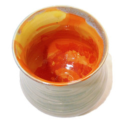 asha fenn - Fire within vase - Fire lies within this vase.  Hand thrown, one of a kind piece.  Like all asha fenn's pottery, this is food safe, microwave safe, oven safe and dishwasher safe.  Glazed stoneware.