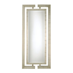 """Uttermost - Uttermost 14097 B Jamal Beveled Mirror With Open Detail Dual Wood Frames - Uttermost 14097 B Grace Feyock Jamal MirrorThis stately mirror features dual wooden frames attached at the top and bottom with a scratched silver leaf finish.   Frames have open detail for wall color to show thru.  Mirror has a generous 1 1/4"""" bevel.Features:"""