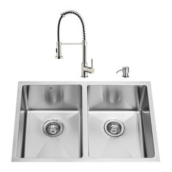 "VIGO Industries - VIGO All in One 29-inch Undermount Stainless Steel Double Bowl Kitchen Sink and - Breathe new life into your kitchen with a VIGO All in One Kitchen Set featuring a 29"" Undermount kitchen sink, faucet, soap dispenser, two matching bottom grids and two sink strainers."