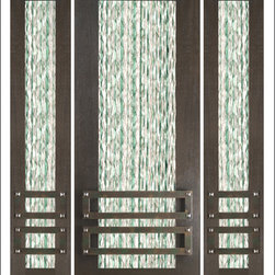 """AAW Inc. - Contemporary Entry Door Model NW-1674 - Model NW-1674 from our New World Collection. Door is solid Mahogany, 2-1/4"""" thick with clear or matte low-E glass iron work on the outside."""