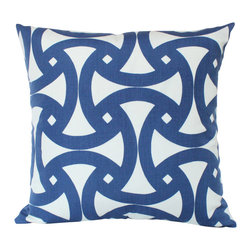 The Pillow Studio - Santorini Marine Blue Outdoor Pillow Cover on Both Sides - I love the geometric design on this pillow and the marine blue provides such great contrast against the ivory white background - its a great addition inside or out!