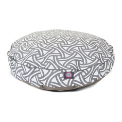 MAJESTIC PET PRODUCTS - Santorini Weave Round Pet Bed - pet bed looks great in any room of your house and is filled with ultra-plush fiberfill for luxurious napping. The removable zippered slipcover is made from outdoor-treated, UV-protected polyester for durability, and the base is made from heavy-duty waterproof 300/600 denier fabric that can go inside or out. Spot clean the slipcover and hang dry. Comes in a variety of colors and patterns, so you can pick the one that complements your decor.