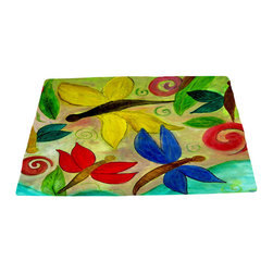 xmarc - Garden Area Plush Area Rugs From Original Art, Dragonflies, 48 X 30 - Dragonflies area plush area rugs from original art. Tree frogs, dragonflies, flowers, lady bug, butterflies.