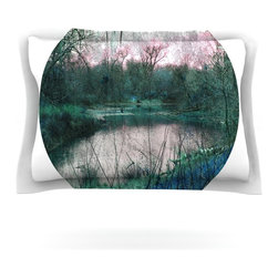 """Kess InHouse - Micah Sager """"Swamp"""" Lake Circle Pillow Sham (Cotton, 30"""" x 20"""") - Pairing your already chic duvet cover with playful pillow shams is the perfect way to tie your bedroom together. There are endless possibilities to feed your artistic palette with these imaginative pillow shams. It will looks so elegant you won't want ruin the masterpiece you have created when you go to bed. Not only are these pillow shams nice to look at they are also made from a high quality cotton blend. They are so soft that they will elevate your sleep up to level that is beyond Cloud 9. We always print our goods with the highest quality printing process in order to maintain the integrity of the art that you are adeptly displaying. This means that you won't have to worry about your art fading or your sham loosing it's freshness."""