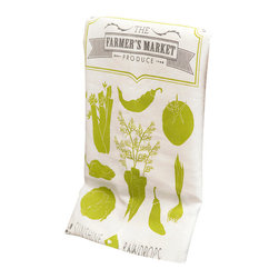 Ruff House Art - Kitchen Tools Tea Towel, Farmer's Market - The Farmer's Market Produce Kitchen Tea Towel will be Spring & Summer into your kitchen year round. Beautifully designed and illustrated with earthy greens and warm grays that is sure to get you in the mood for cooking! The design is printed in the lower middle of the towel for ideal displaying. Not only are these towels beautiful, they are 100% environmentally friendly and locally hand printed!