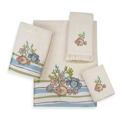 Avanti - Avanti Cancun Bath Towel in Ivory - Avanti Cancun Ivory Towels feature embroidered & appliqued sea with fish and coral in soft coloration done on a pastel striped fabric band in tones of ivory, green and blue. 100% cotton with a sheared velour face.