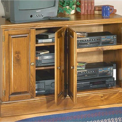 Renovators Supply - Consoles Country Pine Console Entertainment Kit 31'' H   103210 - Consoles: Organize your TV and audio system in one spot with our compact Merrimack entertainment console. Four door unit is 47 1/4 in. wide x 31 in. high. Features two adjustable shelves and one sliding shelf. Offered as a kit only. Comes unfinished and ready to assemble.