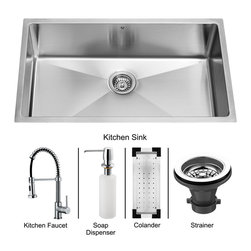 Vigo - Vigo Farmhouse Stainless Steel Kitchen Sink, Faucet, Colander, Strainer and Dis - Enhance your kitchen workspace with a Vigo Undermount Stainless Steel Kitchen Set
