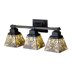 """Meyda - 20""""W Glasgow Bungalow 3 Lt Vanity Light - This meyda tiffany original three light vanity sconceis inspired by the art and architecture of charlesrennie mackintosh and the glasgow school of art.amber-mauve and gold stained glass make up theintricate patterned shades that are suspended frommission style hardware in a warm mahogany bronzefinish. Bulb type: med bulb quantity: 3 bulb wattage: 60"""