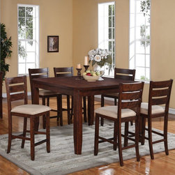 Emerald Home Weston 7 Piece Counter Height Dining Table Set Multicolor - EMER714 - Shop for Dining Sets from Hayneedle.com! Create a fresh contemporary look in your dining room with the Emerald Home Weston 7 Piece Counter Height Dining Table Set. A welcome addition to your dining room this set includes a tall-standing gathering table leaf and six chairs. All pieces are made of hardwood solids and acacia veneers in a toasted-almond finish. The chairs have a ladder-back design with padded seats upholstered in almond-colored fabric. The table has a casual plank-style top tapered legs and an 18-inch leaf.Dimensions:36-54L x 36W x 36H in.Chair (ea.): 19.5W x 21.3D x 41H in.About Emerald Home FurnishingsFounded in 1962 Emerald Home Furnishings supplies to home furniture retailers throughout the United States Canada Mexico Australia Japan Taiwan England and other countries. The company originally started as a distributor of bed frames and furniture and over the years has added a number of high-quality items to its product line. The company s mission is to strive for innovation integrity and excellent service.