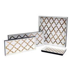 Belle & June - Arabesque Coffee/Cream Trays - Glossy, elegant and definitely for your decor, these lovely trays are handcrafted using a century's old technique of layering colors with many coats of lacquers. Able to withstand heat and spills these trays are next to perfection.