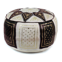 Ikram Design - Black / Beige Fez Moroccan Leather Pouf - These combination-colored poufs are particularly beautiful in conservatively decorated rooms, yet they can enhance the beauty of just about any room. Allowing you to pair them up with gorgeous colors, these combination traditional styled poufs are functional and comfortable and of course, they are also beautiful and come pre-stuffed with filling fiber.
