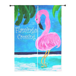 xmarc - Tropical Birds Sheer Curtains, Flamingo Crossing - The windows have it with these sheer, decorative curtains. Romantic and flowing, these elegant chiffon window treatments finish a room with the perfect statement