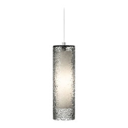 "LBL Lighting - LBL Rock Candy Smoke Glass 4 3/4"" Wide Pendant Light - The Rock Candy pendant light has a strikingly beautiful design with a cylinder of mouth-blown smoke glass that has been carefully rolled in clear crystal frit and flash heated. An inner opal glass diffuser shows through the transparent smoke glass and disperses light across the textured surface. From LBL Lighting. Mouth blown smoke glass. Clear crystal frit. Opal glass diffuser. Satin nickel finish. Includes one 60 watt E26 medium base halogen bulb. 4 3/4"" wide. 15 3/4"" high. Includes 6 feet of field-cuttable cord. Canopy is 4 1/2"" wide and 2"" high.  Mouth blown smoke glass.   Clear crystal frit.   Opal glass diffuser.   Satin nickel finish.   Includes one 60 watt E26 medium base halogen bulb.   4 3/4"" wide.   15 3/4"" high.   Includes 6 feet of field-cuttable cord.   Canopy is 4 1/2"" wide and 2"" high."