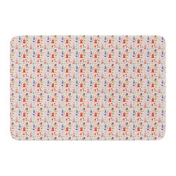 "KESS InHouse - Holly Helgeson ""Miss Ruby"" Pink Pattern Memory Foam Bath Mat (17"" x 24"") - These super absorbent bath mats will add comfort and style to your bathroom. These memory foam mats will feel like you are in a spa every time you step out of the shower. Available in two sizes, 17"" x 24"" and 24"" x 36"", with a .5"" thickness and non skid backing, these will fit every style of bathroom. Add comfort like never before in front of your vanity, sink, bathtub, shower or even laundry room. Machine wash cold, gentle cycle, tumble dry low or lay flat to dry. Printed on single side."