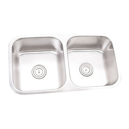 """TCS Home Supplies - 32 Inch Stainless Steel Undermount 50/50 Double Bowl Kitchen Sink - 16 Gauge - 16 Gauge Stainless Steel Kitchen Sink.  Double Bowl.  Undermount Installation.  Brushed Stainless Steel Finish.  Dimensions 32-1/4"""" x 18"""" x 9""""."""