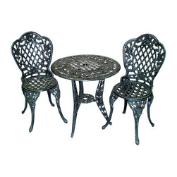 Oakland Living - Three Pc Tea Rose Umbrella Table Set w Two Ch - Set includes 1 table and 2 chairs. Table has a center opening for umbrellas. Brass and stainless steel assembly hardware ensures sturdiness, durability and security for years. High-grade polyester powder coat finish provides a long lasting, beautiful finish that will maintain its appearance for years to come with minimal maintenance. Quick and easy to read assembly instructions included with each product. Resistant to rust, corrosion, extreme heat and light. Relatively light weight - making it easy to move. Strong and durable - even in heavy winds. Superior craftsmanship and intricate designs. Constructed of cast aluminum. Pictured in Verdi Grey