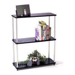 Convenience Concepts - 3-Tier Bookshelf in Black Finish - Sturdy 16 mm thick particle board with woodgrain melamine veneer shelves. 22 mm stainless steel clad posts for strength. Limited warranty. Assembly required. 31.5 in. W x 11.8 in. D x 33.6 in. H (23 lbs.)