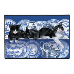 314-Willow Pattern Doormat - 100% Polyester face, permanently dye printed & fade resistant, nonskid rubber backing, durable polypropylene web trim. Use on the porch or near your back entrance to the house. Indoor and outdoor compatible rugs that stand up to heavy use and weather effects