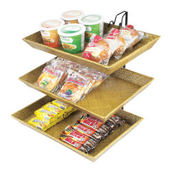 Cal Mil - 18W x 15D x 15H Tiered Bamboo Tray Merchandiser 1 Ct - Organize and keep your counters free of clutter with these tiered merchandisers that feature a black wire frame that is accented by bamboo trays. This unique and bold style will complement any decor and enhance any food presentation at your buffet restaurant or catered event.