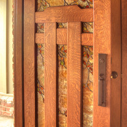 Stained Glass Entry - Dunsmuir Door with Fall Leaf Art Glass by Theodore Ellison Designs and The Craftsman Door Company