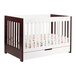 Babyletto - Babyletto Mercer 3-in-1 Convertible Crib with Toddler Bed Conversion Kit - This three-in-one convertible crib can be adjusted to meet the needs of a growing baby. A drawer at the bottom of the crib keeps extra sheets and blankets where you need them. A toddler guard rail kit is included for converting the crib.