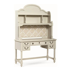 Legacy Classic Kids - Legacy Kids Inspirations Boutique Desk Hutch in Morning Mist - A beautiful addition to a bedroom or work area, this Inspirations Inspirations Boutique Desk and Hutch by Legacy Classic Kids combination has a variety of classic features. Enjoy the hutchs four shelves and arched step molding, while bobbin-style posts connect it to the desk. Three drawers are great for storage, and custom design bail pull and key escutcheon hardware gives the desk a vintage look. Post photos or notes on the French Memo Board, which can be easily displayed with help from the puck light with 3-way touch dimmer. Available in either Morning Mist or Seashell White finish.