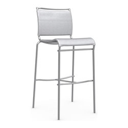 Calligaris - Air Bar Stool, Satin Frame, Grey - This sleek yet shapely chromed steel stool is perfect for your modern bar. Thanks to the net seat and back, it's as comfortable as it is cool-looking.