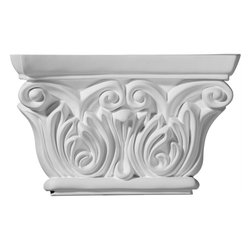 "Ekena Millwork - 8 5/8""W x 5 1/2""H Chesterfield Capital (Fits Pilasters up to 5 1/4""W x 5/8""D) - 8 5/8""W x 5 1/2""H Chesterfield Capital (Fits Pilasters up to 5 1/4""W x 5/8""D). Our appliques and onlays are the perfect accent pieces to cabinetry, furniture, fireplace mantels, ceilings, and more. Each pattern is carefully crafted after traditional and historical designs. Each polyurethane piece is easily installed, just like wood pieces, with simple glues and finish nails. Another benefit of polyurethane is it will not rot or crack, and is impervious to insect manifestations. It comes to you factory primed and ready for your paint, faux finish, gel stain, marbleizing and more."