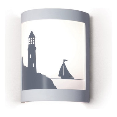 A19 Lighting - Bay Harbor Lighthouse/Boat Nautical Silhouette Wall Sconce - A Nautical Fantasy-Billowing Sales Against The Horizon, While A Friendly Lighthouse Protects The Shore. The Image Is Reverse-Painted On A Translucent White Film And Framed In Ceramic. The Effect Is Refreshing Yet Dramatic. The Frame Is Also Available In A Number Of Colors And Faux Finishes Ranging From Rustic Metals To Rich Glossy Glaze.Height:10.25