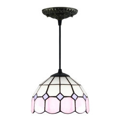 ParrotUncle - Pink White Tiffany Glass Pendant Lamps - Pink White Tiffany Glass Pendant Lamps