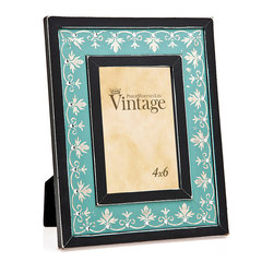 """Philip Whitney - Silver Leaf And Diamond Frame, Blue, 4""""x6"""" - Bring a pop of bright color to your desk or bookshelves using this 4-by-6 inch Silver Leaf and Diamond Frame in light blue. Featuring black edges and a simple scallop and scroll pattern in silver leaf with diamond accents, this frame has an elegant, polished look that pairs well with traditional decor."""