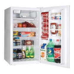 Haier - HAIER HNSE045 Refrigerator/Freezer (4.5 cu ft) - � Half-width freezer compartment with ice cube tray;� Dispense-a-Can(R) storage fits up to 6 cans;� 3 full-width interior glass shelves;� 1 full-width & 2 half-width door storage shelves;� Accommodates 2-liter & tall bottles;� Reversible door;� Space-saving, flat-back design;� Adjustable leveling legs;� Adjustable thermostat;� 4.5 cu ft capacity