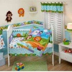 Fisher Price Precious Planets 4 pc. crib set - Introduce your child to some of the wonderful animals of our planet with the Fisher Price Precious Planets 4 pc. crib set. Made of a cotton and polyester blend, this bedroom set comes with a appliquéd comforter, fitted sheet, dust ruffle, and wall hanging.About NoJoOffering fashionable, safe, and reliable products throughout the United States for the past 40 years, NoJo's goal is to offer fashion-forward infant and toddler bedding, blankets, and accessories that meet the demands of today's modern lifestyle. NoJo puts not only style into their products, but comfort and safety, too.