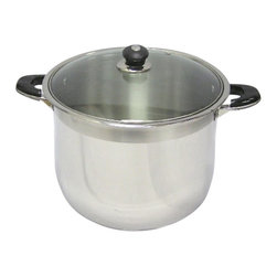 CONCORD - 24 Qt Capacity 18/10 Stainless Steel Stock Pot with Glass Lid - This 24qt stock pot is made of 18/10 .5 mm stainless steel with an encapsulated bottom. It comes with stainless steel black bakelite handles and knobs, with a mirror polish exterior with a satin line around the top.