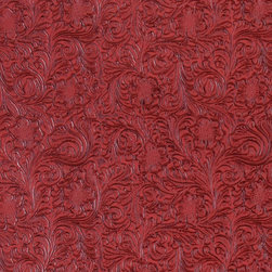 Red Tooled Floral Designed Upholstery Faux Leather By The Yard - This material is great for automotive, commercial and residential upholstery. It is very easy to clean with mild soap and water.