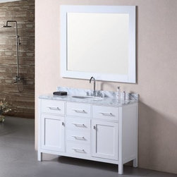 Design Element London 48-in. Single Bathroom Vanity Set - The Design Element London 48-in. Single Bathroom Vanity Set offers a stunning vanity and mirror set. Both pieces have the same solid oak construction and beautiful pearl white finish. The countertop is made from a solid slab of Carrera white marble with an oval ceramic undermount sink. The vanity features five spacious storage drawers two cabinets with soft-closing doors and one pull-out shelf. Satin nickel finished hardware completes the look. About Design Element GroupBased in California the Design Element Group is quickly becoming an industry leader thanks to their focus on maintaining a position at the forefront of emerging trends in furniture design modern materials and quality craftsmanship. From their humble beginnings in 2010 Design Element Group has made quite the name for itself providing high-quality bathroom vanities at an affordable price. Each piece is professionally designed and handcrafted never mass-produced. Their passion commitment to their products and loyalty to their customer base has made the Design Element Group a company to take note of.