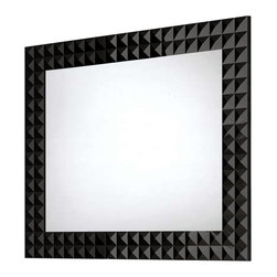 """Macral - Diamond Wall-Framed Mirror, 40 Inches - Diamond Framed mirror Black High gloss, available in 32"""" and 40"""". The price ONLY includes the mirror, all the rest items such as the vanity, the faucet, linen cabinet...are NOT INCLUDED, but can be sold separately."""
