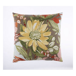 Canaan Company - Flourish Printed Cotton 24 x 24 Pillow - - 24 x 24 Zippered removable cover with feather and down insert.  - Fill Material: 95% Feather and 5% Down  - Spot Clean or Dry Clean  - Fabric Content: Printed Cotton Canaan Company - 2114