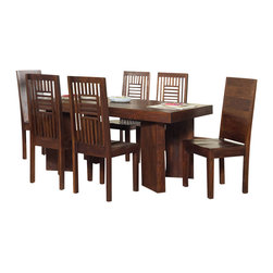 Modus Furniture - Modus Palindrome 8-Piece Dining Room Set in Chestnut - Handmade and hand-finished by skilled artisans in India, the Palindrome collection is certain to elicit the envy of your dinner guests. With its bold symmetry and generous proportions, the dining table is truly a conversation piece. Solid wood chairs require no assembly and use saddle carvings to create a surprisingly comfortable seat. The set is crafted entirely from Mango Solid wood and uses time-honored construction techniques to ensure lasting quality. From dovetailed table corners and angle braced chair legs to the rabbet jointed cube, proud carpenters have pored over every detail to create a product that will withstand the test of time.