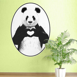 My Wonderful Walls - Panda Wall Decal - All You Need Is Love by Balázs Solti, Small - - Product:  panda bear wall sticker with heart hands