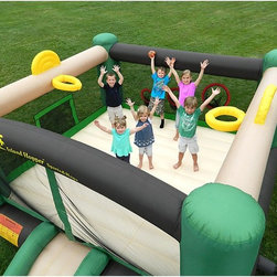 Island Hopper - Island Hopper Sports n Hops Bounce House Multicolor - SPORTSNHOPS - Shop for Tents and Playhouses from Hayneedle.com! The Island Hopper Sports N Hops Bounce House is much more than just a bounce house it is a soft sports arena the kids will love for years. This is a recreational bounce house that gives your kids 5 sporting activities and games like soccer ball pitching football throwing slam dunking and just good old fashion bouncing. Have a soccer shoot out or an indoor soft soccer game using the two integrated goals. Practice pitching your fast ball into one of the three target nets using one of the soft foam balls included. Have a slam dunk contest or a basketball horse game with basketball hoops on each end. Includes carry bag lawn stakes and instructions on use. Includes repair kit. Dimensions: Exterior dimensions: 12L x 15W x 8H ft. Interior dimensions: 11.8L x 11.8W ft. Column: 8 ft. tall 6 ft. lower column Slide: 4.3 ft. long x 3 ft. wide